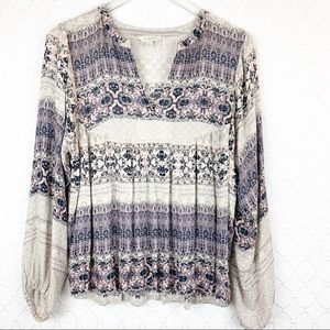 LUCKY BRAND Romantic Peasant Blouse Top Small